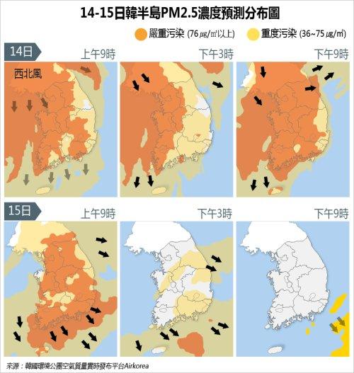 14-15日韓半島PM2.5濃度預測分佈圖