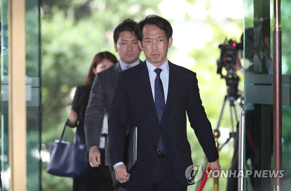 日本駐韓大使館公使接受南韓外交部召見。(韓聯社)
