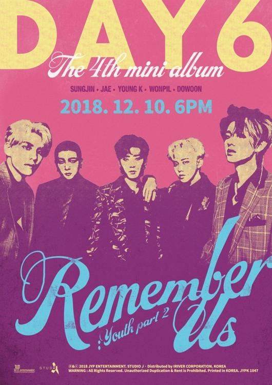 DAY6迷你四輯《Remember Us:Youth Part 2》預告照(JYP娛樂供圖)
