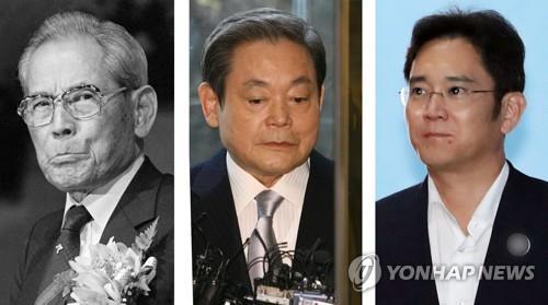 資料圖片:左起依次為李秉喆、李健熙、李在鎔。 韓聯社