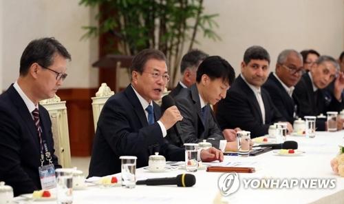 文在寅接見韓聯社等亞通組織成員社代表