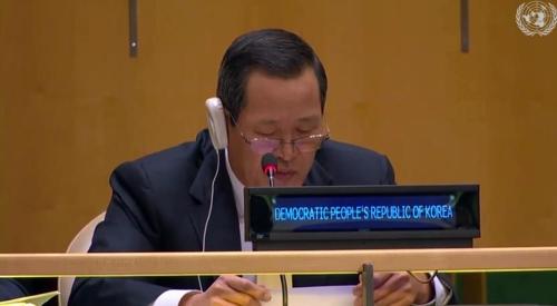 資料圖片:朝駐聯代表金星 韓聯社/聯合國Web TV截圖(圖片嚴禁轉載複製)