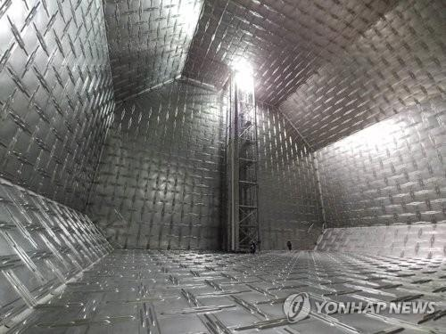 南韓自主研製的LNG貨倉——KC-1圍護系統 韓聯社/南韓天然氣公社供圖(圖片嚴禁轉載複製)
