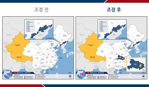 右圖中黃色部分為南韓外交部發佈的二級旅遊安全預警地區。 外交部供圖(圖片嚴禁轉載複製)
