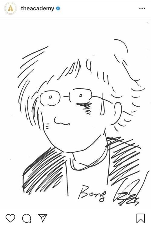 奧斯卡公開的奉俊昊自畫像 奧斯卡官方照片�棳I圖(圖片嚴禁轉載複製)