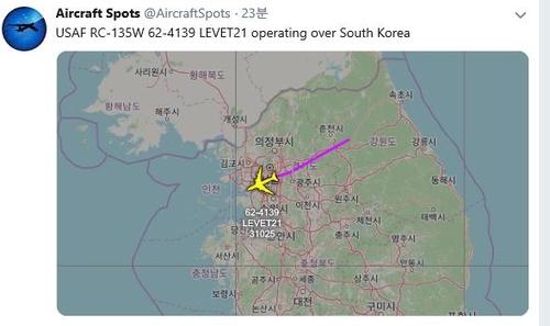 資料圖片:美偵察機RC-135W的飛行軌跡 飛機守望推特截圖(圖片嚴禁轉載複製)