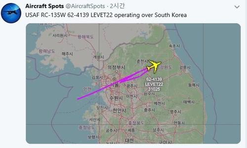 美軍偵察機在朝鮮開最高人民會議之際飛臨韓半島