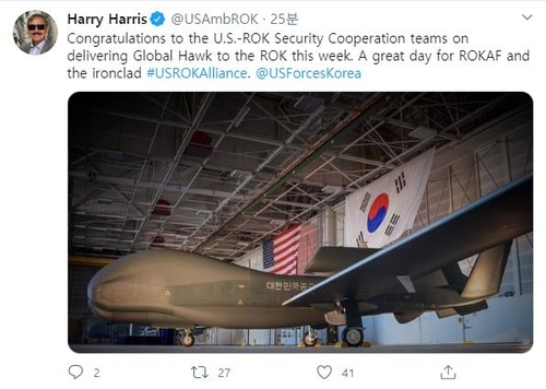 """南韓接收第二架""""全球鷹""""無人偵察機"""