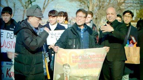 資料圖片:大韓航空客機劫持案受害者家屬會敦促朝鮮送還劫持人員。 1969年大韓航空客機劫持案受害者家屬會供圖(圖片嚴禁轉載複製)