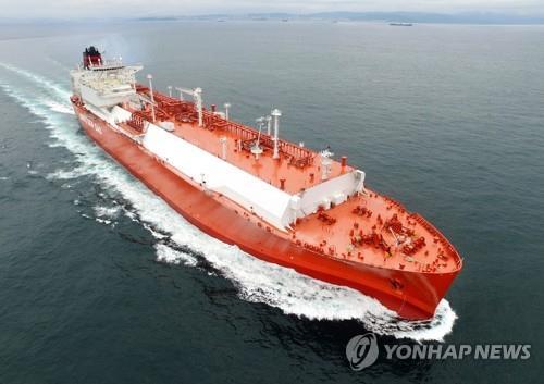 資料圖片:現代重工業LNG船 現代重工業供圖(圖片嚴禁轉載複製)