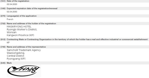 """資料圖片:朝鮮馬息嶺酒店向世界智慧財產權組織申請註冊的商標""""馬息嶺酒店""""相關資訊畫面 韓聯社/世界智慧財產權組織官網截圖(圖片嚴禁轉載複製)"""