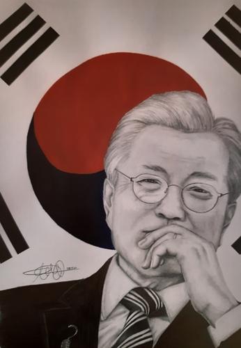 資料圖片:描繪總統文在寅和太極旗的作品 韓聯社
