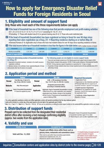 首爾市外籍市民災難緊急生活費支援指南(英文版) 首爾市政府供圖(圖片嚴禁轉載複製)
