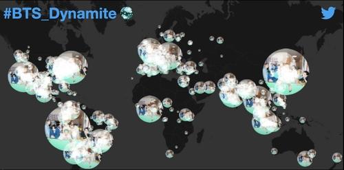 防彈《Dynamite》登頂公告牌相關推文4600萬條