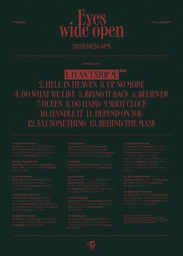 TWICE正規二輯《Eyes wide open》的曲目單 JYP娛樂供圖(圖片嚴禁轉載複製)