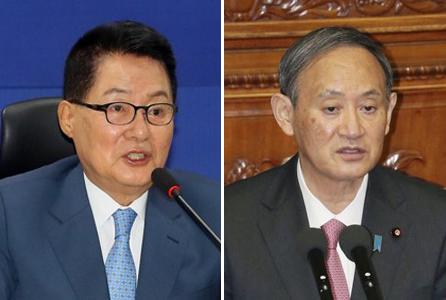韓情報首長拜會日本首相菅義偉