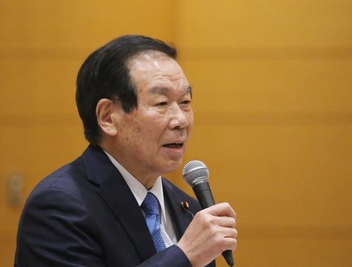 11月12日,日本自民黨眾議院議員額賀福志郎在東京出席韓日兩國議員聯盟幹事會。 韓聯社