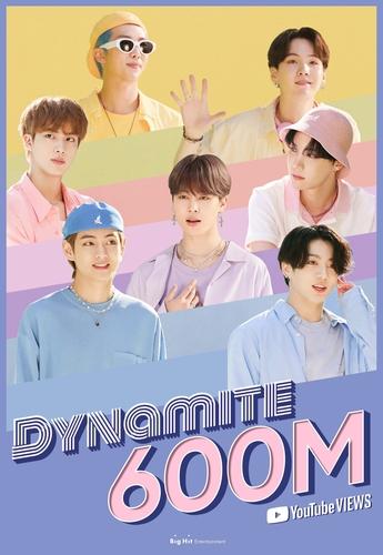 防彈少年團《Dynamite》MV優兔播放量破6億