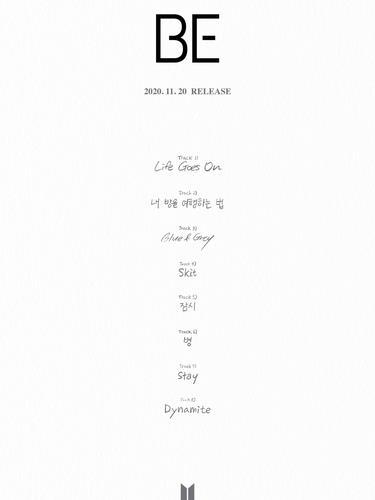 《BE》歌單 Big Hit娛樂供圖(圖片嚴禁轉載複製)