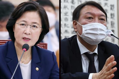 資料圖片:法務部長官秋美愛(左)和檢察總長尹錫悅 韓聯社