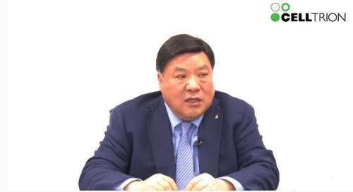 2月18日,賽爾群名譽會長徐廷珍線上回答記者提問。 韓聯社/優兔直播畫面截圖(圖片嚴禁轉載複製)