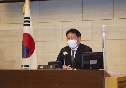 2月23日,SK集團會長崔泰源被選為首爾商工會議所會長。 韓聯社/大韓商工會議所供圖(圖片嚴禁轉載複製)