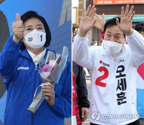 資料圖片:首爾市長候選人樸映宣(左)和吳世勳 韓聯社