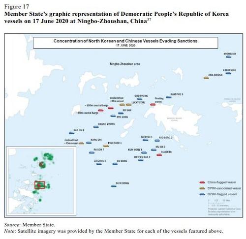 資料圖片:這是朝鮮船舶2020年6月17日在中國寧波舟山港附近海域航行的情況示意圖。 韓聯社/聯合國安理會旗下對朝制裁委員會專家小組報告截圖(圖片嚴禁轉載複製)