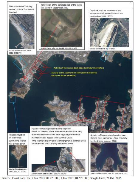 資料圖片:朝鮮新浦海軍造船廠 韓聯社/聯合國安理會旗下對朝制裁委員會專家小組報告截圖(圖片嚴禁轉載複製)