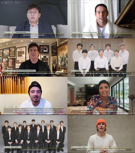 比伯等加盟防彈東家HYBE公司藝人發祝賀視頻