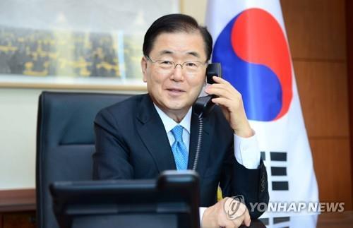 韓外長鄭義溶同新加坡外長維文通電話