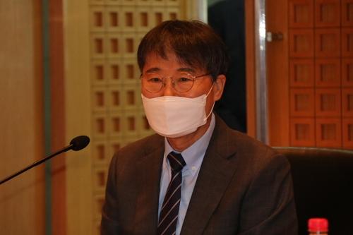 7月9日,南韓駐華大使張夏成在2021年南韓駐華外交代表會議上講話。 韓聯社