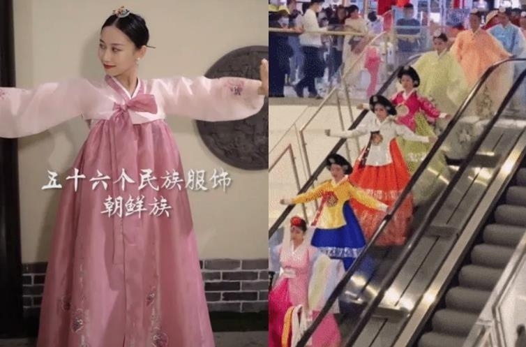 """左為應用軟體""""FacePlay""""在韓服圖片上標注""""朝鮮族"""",右為延邊以購物中心的時裝秀宣傳韓服為朝鮮族傳統服飾。 徐坰德供圖"""