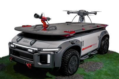 現代汽車融合無人機和消防水槍的概念車型Rescue Drone 現代汽車供圖(圖片嚴禁轉載複製)
