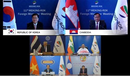 9月8日,鄭義溶(上圖左)與巴速坤(上圖右)共同主持南韓-湄公河流域國家外長會議。 韓聯社