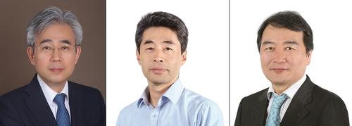 左起依次為韓聯社負責數字媒體事務的常務理事樸相賢、負責國際與業務管理事務的常務理事金賢峻、負責經營戰略事務的常務理事鄭天基。 韓聯社