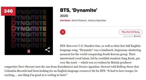 防彈《Dynamite》入選滾石史上最偉大500歌曲