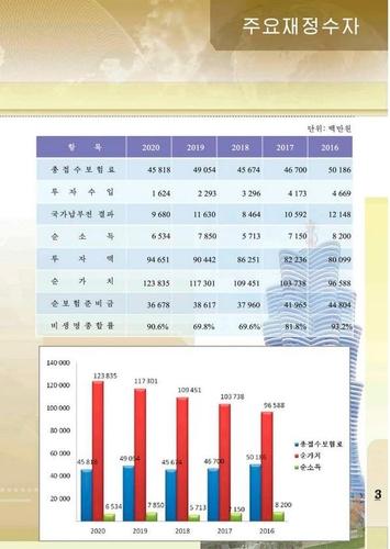 朝鮮民族保險總公司發佈的會計資料 總公司官網截圖(圖片僅限南韓國內使用,嚴禁轉載複製)