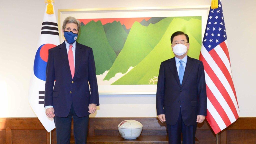 韓外長鄭義溶會晤美國氣候特使克��