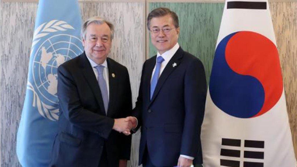文在寅祝賀古特雷斯連任聯合國秘書長
