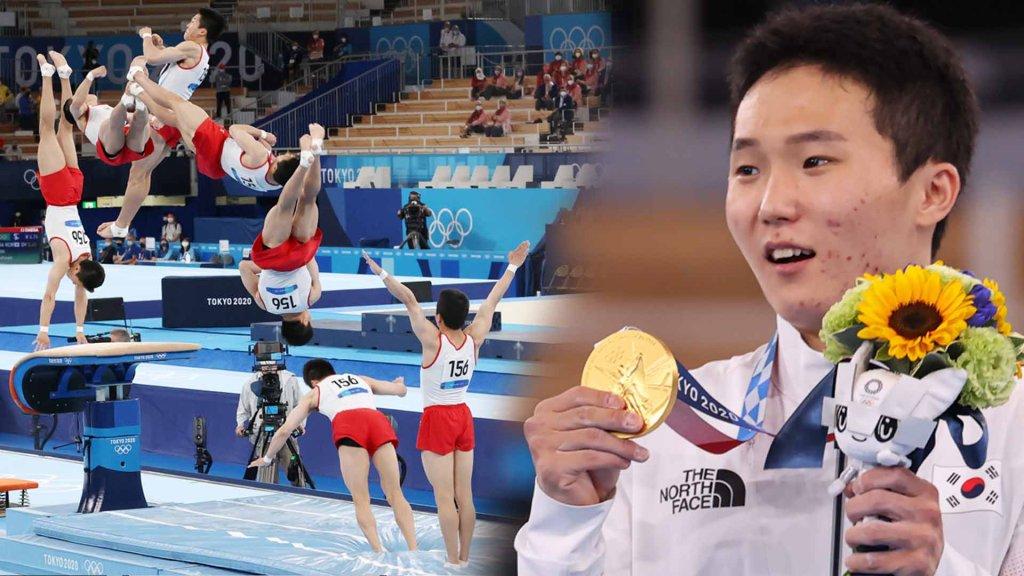 韓選手申在煥斬獲東京奧運男子跳馬金牌