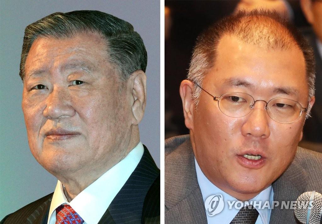 資料圖片:鄭夢九(左)和鄭義宣 韓聯社