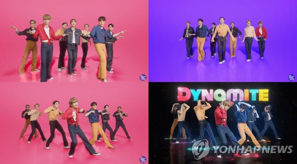 當地時間9月28日,防彈少年團在美國NBC電視臺脫口秀《吉米今夜秀》獻唱。 Big Hit娛樂供圖(圖片嚴禁轉載複製)