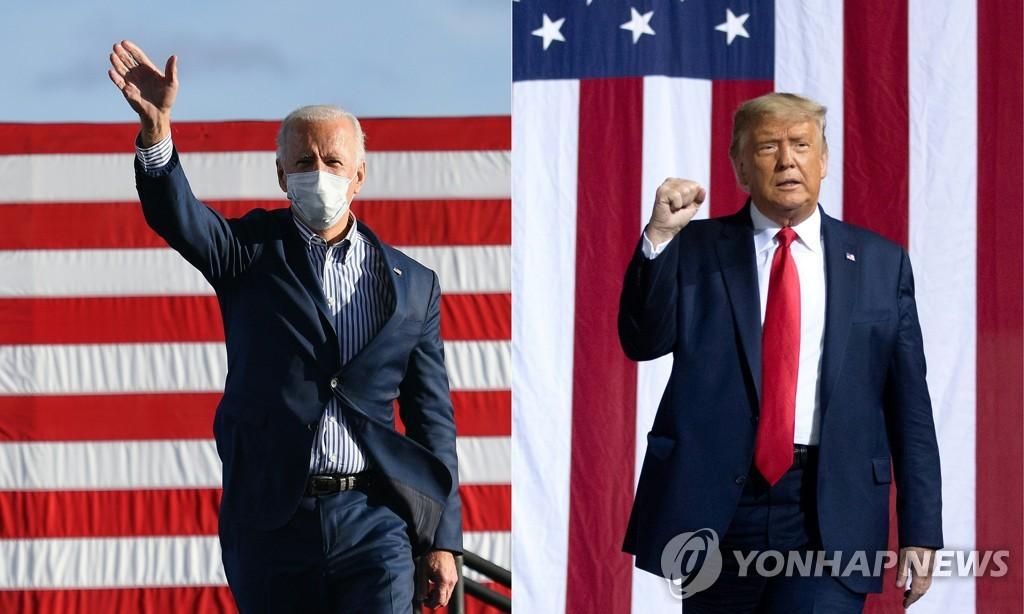 資料圖片:美國總統特朗普(右)和民主黨總統候選人拜登 韓聯社/法新社(圖片嚴禁轉載複製)