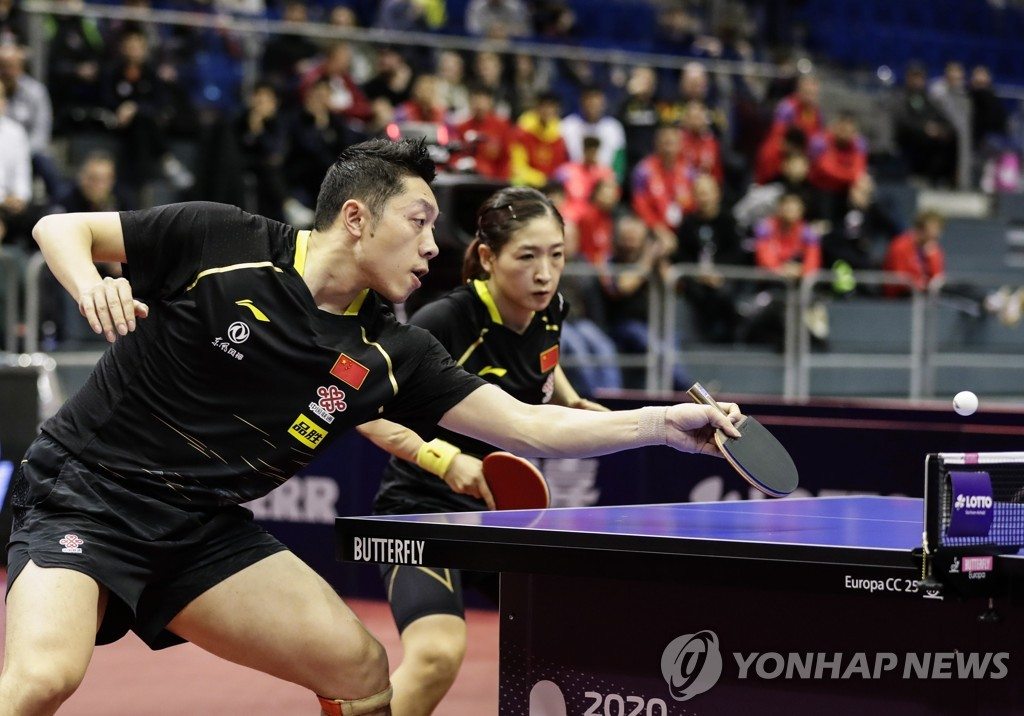 釜山世乒賽前韓中兩隊將合訓