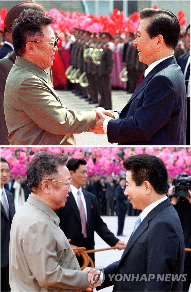 金正日2007年和2000年會晤時任南韓總統金大中和盧武鉉時身穿野戰夾克。 韓聯社