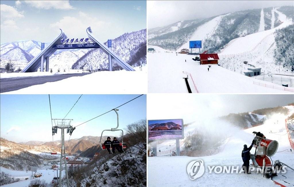 """朝鮮外宣媒體""""朝鮮今日""""1月22日刊登位於江原道元山的馬息嶺滑雪場圖片,並稱其是世界一流的滑雪場。圖片僅限南韓國內使用,嚴禁轉載複製。(韓聯社/今日朝鮮)"""
