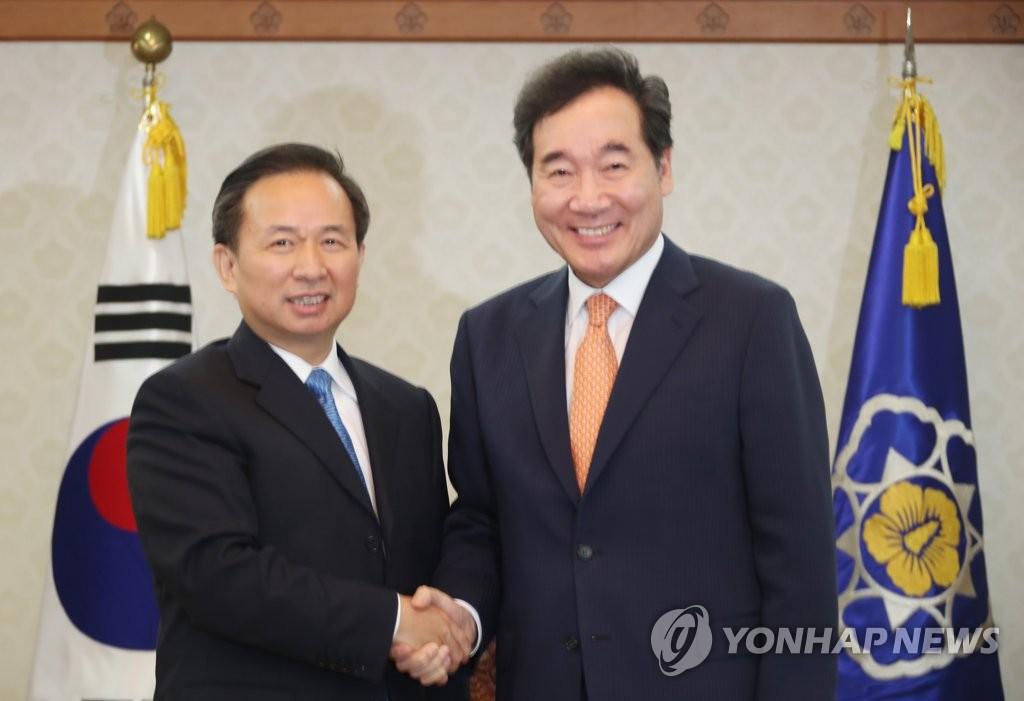 南韓總理李洛淵會見中國環境部長李幹傑