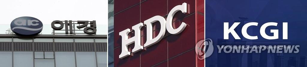 資料圖片:左起依次是愛敬集團、HDC現代產業開發聯合體、大韓航空第二大股東私募基金KCGI。 韓聯社