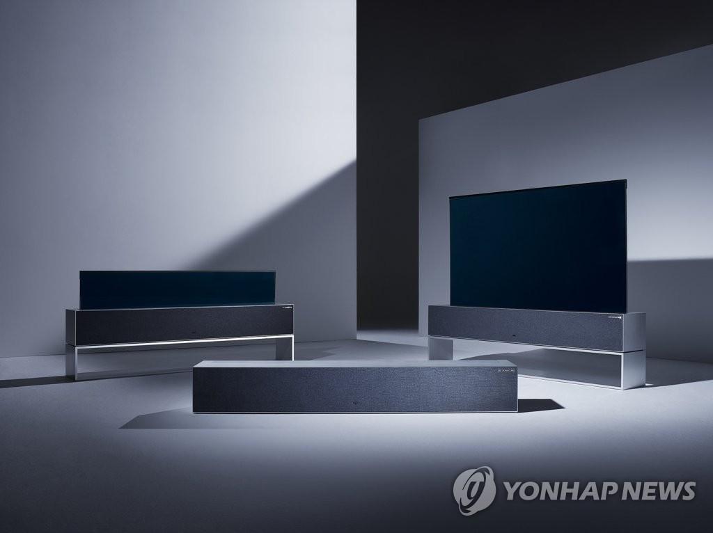 LG捲曲式OLED電視璽印TV R 韓聯社/LG電子供圖(圖片嚴禁轉載複製)